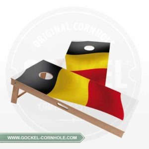 2 Cornhole Boards with a Belgium flag to play at any party!