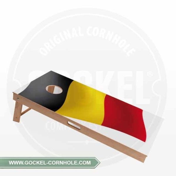 Cornhole Board with a Belgium flag print to play at any party!