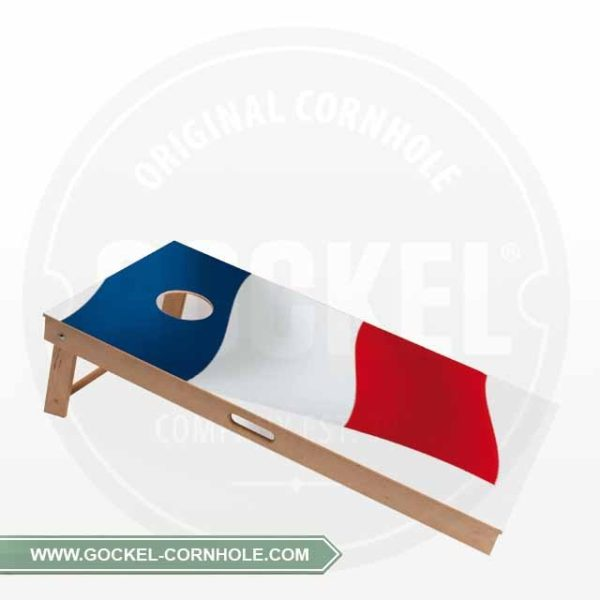 Cornhole Board with a French flag print to play at any party!