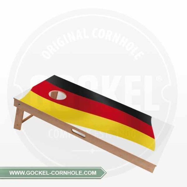 Cornhole Board with a Germam flag print to play at any party!