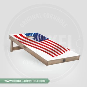Cornhole Board with an American flag print to play at any party!