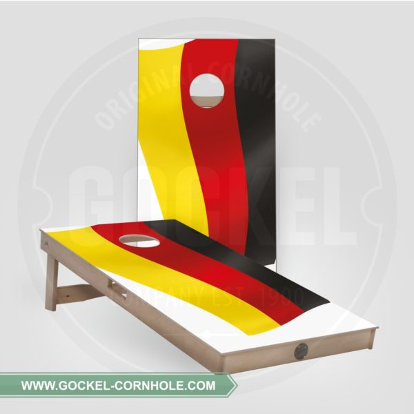 2 Cornhole Boards with a German flag to play at any party!