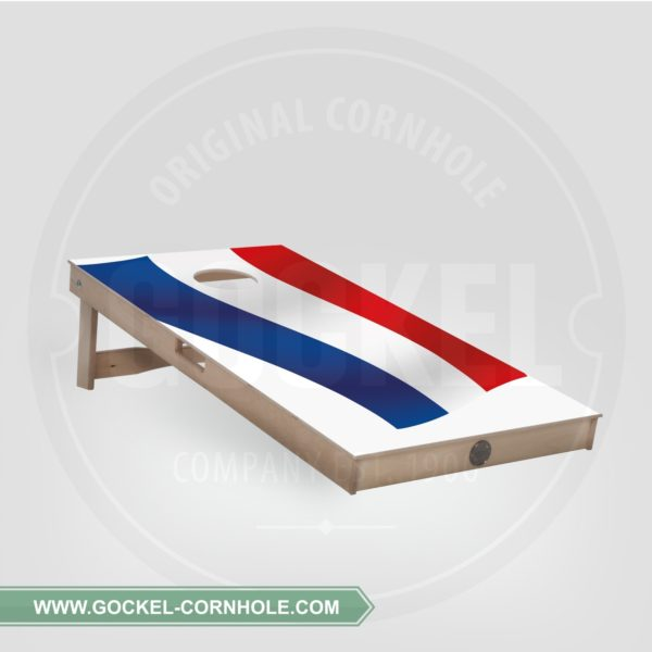 Cornhole Board with a Dutch flag print to play at any party!