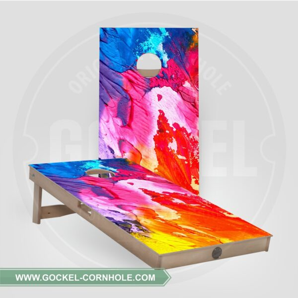 Cornhole boards with an abstract print.