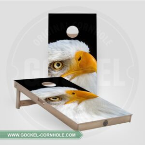 Cornhole boards with an eagle print.