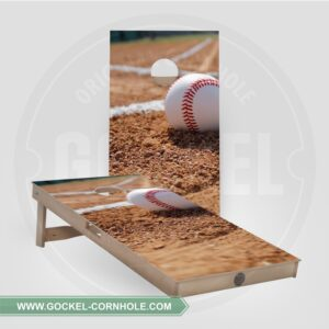 Cornhole boards with a baseball print.