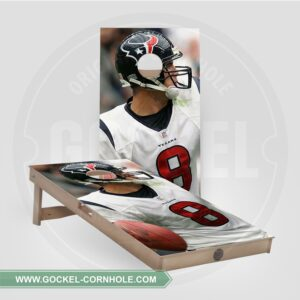 Cornhole boards with an American football player print.