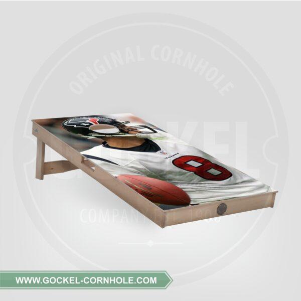 Cornhole board with American football player print.
