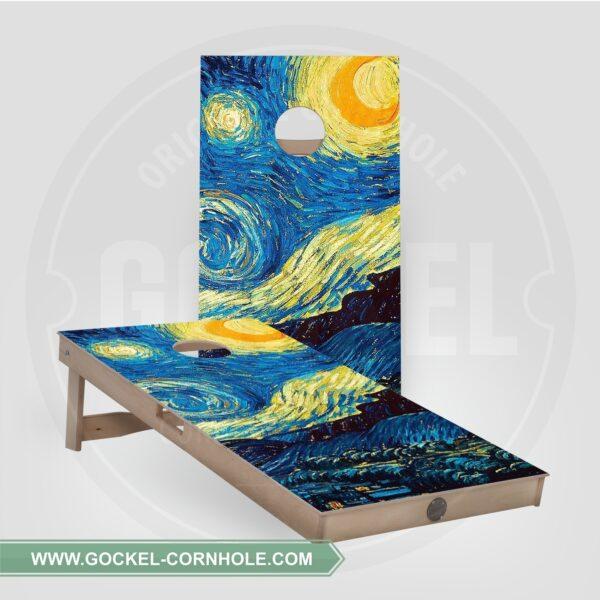 Cornhole boards - starry sky, Vincent van Gogh print.