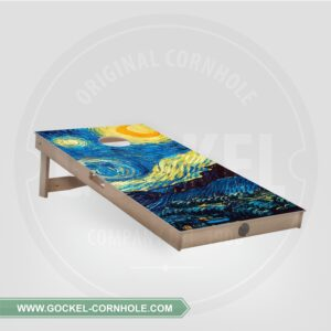 Cornhole board with starry sky, Vincent van Gogh print.