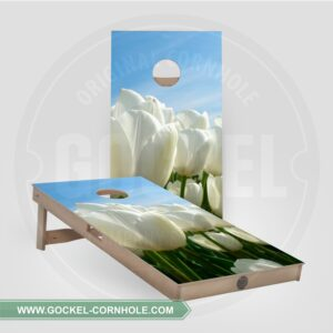 Cornhole boards with tulips print.