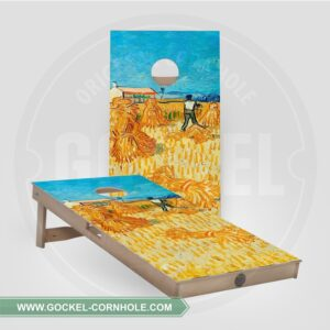 Cornhole boards with harvest, Vincent van Gogh print.