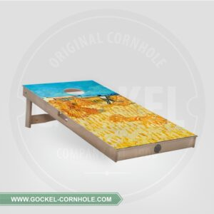 Cornhole board with harvest, Vincent van Gogh print.