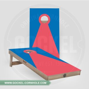 Cornhole boards with a blue and red pyramid!