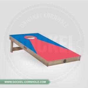 Cornhole board - blue red pyramid