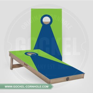 Cornhole boards with a green and blue pyramid!