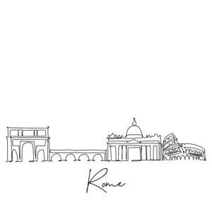 Cornhole sticker - skyline Rome