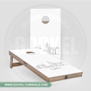 2 Cornhole Boards with a skyline print of Stockholm!