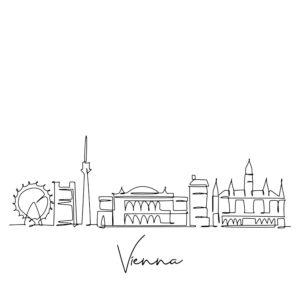 Cornhole sticker - skyline Vienna