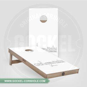 2 Cornhole Boards with a skyline print of Vienna!