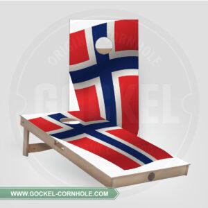 SET - CORNHOLE BOARD WITH A NORWEGIAN FLAG PRINT