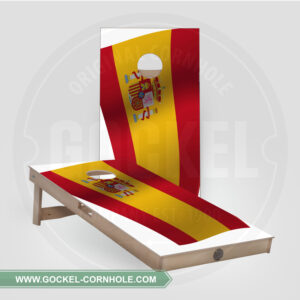 SET - CORNHOLE BOARD WITH A SPANISH FLAG PRINT