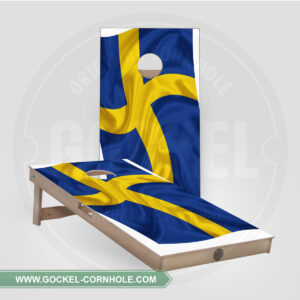 SET - CORNHOLE BOARD WITH A SWEDISH FLAG PRINT